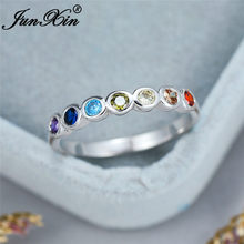 Único fileira multicolorido zircon anel fino ouro branco arco-íris fogo cristal pedra anéis de casamento para mulher empilhamento anel jóias cz