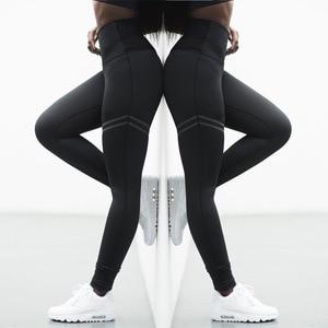 Image 2 - Женские спортивные штаны для фитнеса, эластичные спортивные Леггинсы для тренировок, облегающие спортивные штаны для бега, однотонные тренировочные брюки