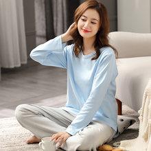 Осенняя пижама из 100% хлопка Женский светильник синяя Пижама