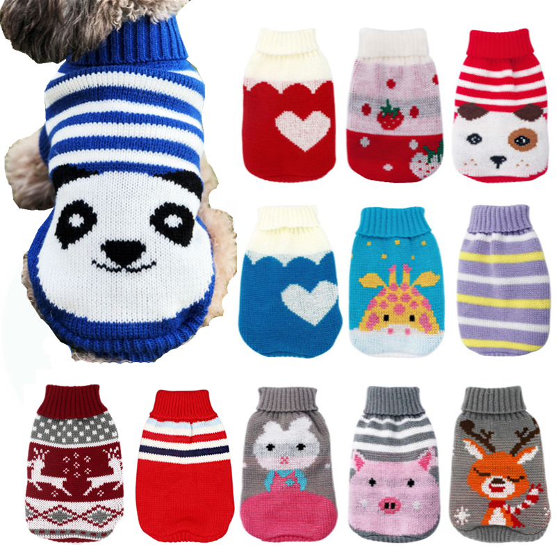 Winter Cartoon Cat Dog Clothes Warm Christmas Sweater For Small Yorkie Pet Clothing Coat Knitting Crochet Cloth XS-3XL