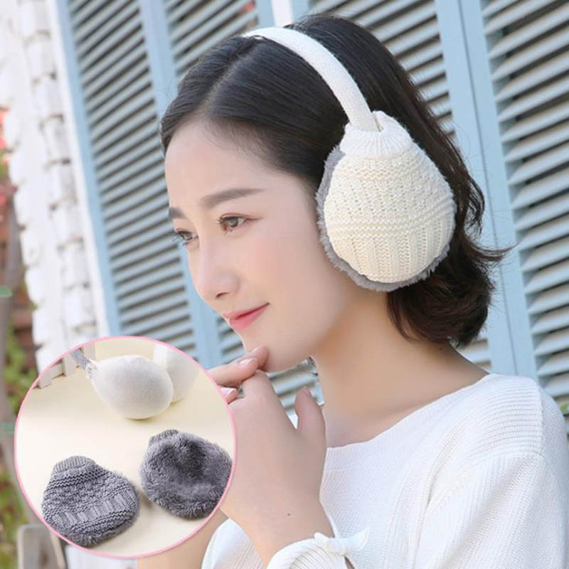 Calymel 2020 New Women Warmer Earmuff Fur Headphones Plush Ear Muffs Winter Black Men Knitted Headphones Cute Fur Earmuffs