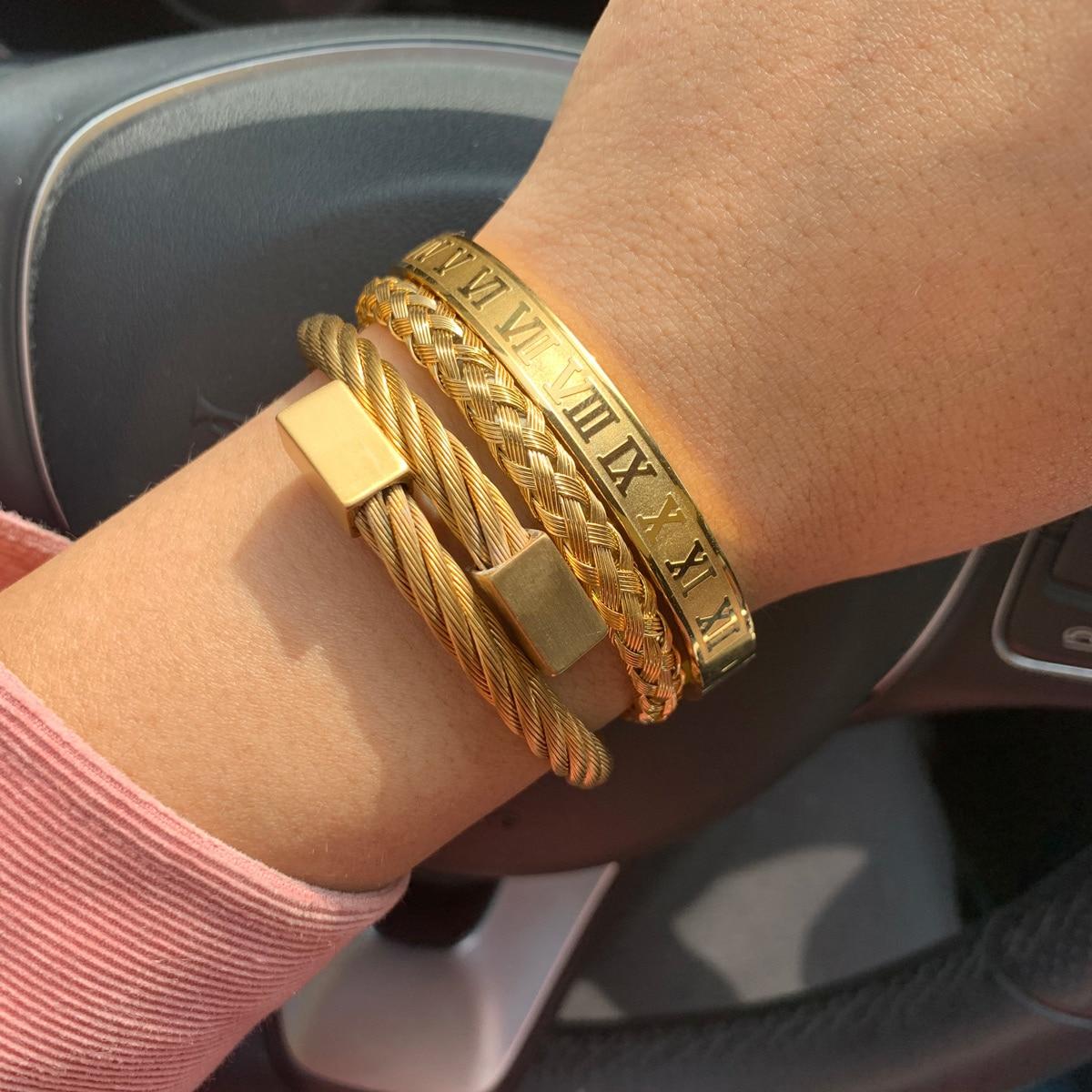 3pcs/Set Royal Roman Number bracelets & bangles Stainless Steel Braid Rectangle Bangle Luxury Men Bracelet for Men Jewelry