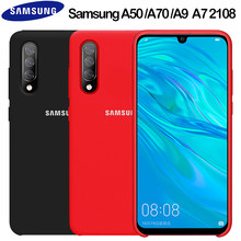 Samsung A50 Case Original Liquid Silicone Soft Protection Back Cover Samsung Galaxy A70 A50 A30 A10 A8 A6 Plus A9 A7 2018 Case(China)