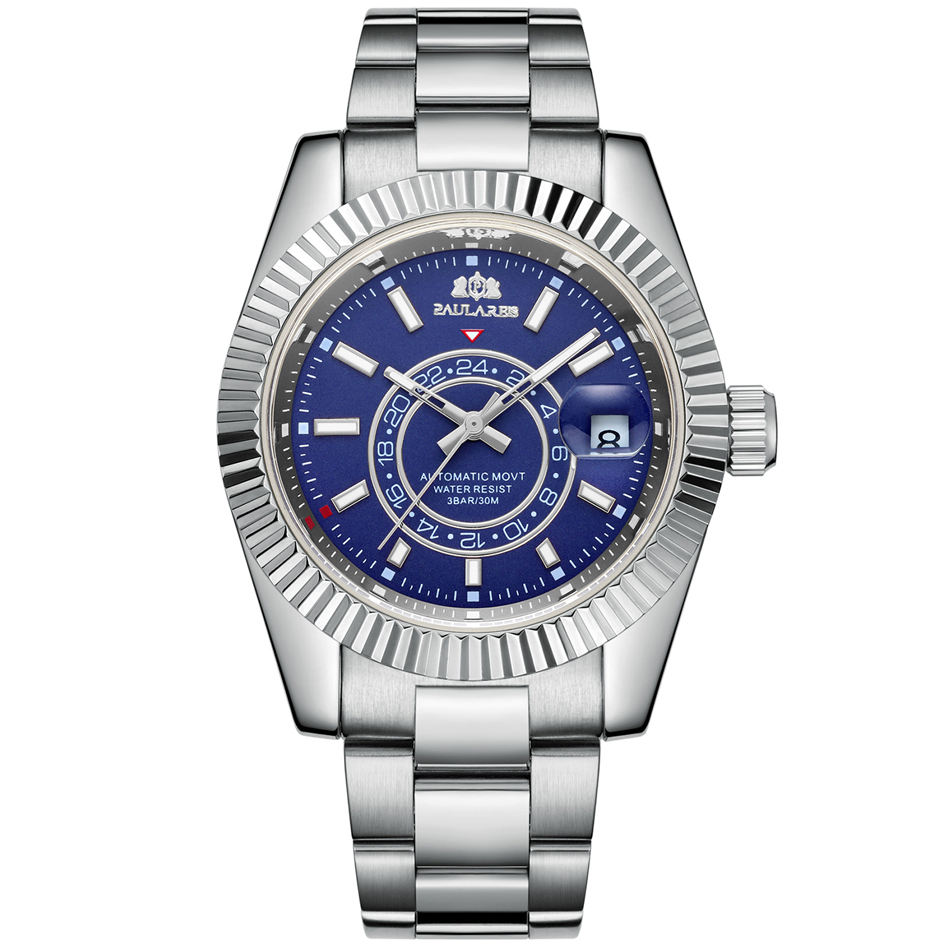Automatic Self Wind Mechanical Stainless Steel Strap Rose Gold Silver Blue Date Luxury Sky 40mm Men Watch