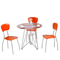 Simple toughened glass round table balcony leisure small table coffee table round negotiation table reception table and chai