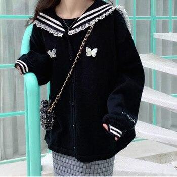 Black Sweet Cardigan Women Knitted Kawaii Lolita Sweater Female Vintage Harajuku Korean Womens Clothing Autumn 2020