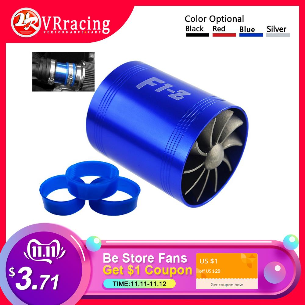Double Turbine Turbo Charger Air Intake Gas Fuel Saver Fan Car Supercharger 4 Colors Optional Blue Red Silver Black Silver
