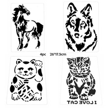 Embossing Stencil Decoration Scrapbook Animal-Painting-Template Diary-Album Doodle Coloring