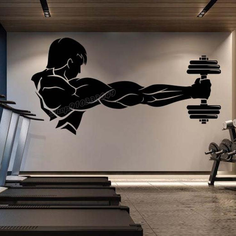 Тренажерный зал виниловые наклейки на стены тренировки тренажерный зал мышцы логотип Фитнес зверь штангой Тяжелая атлетика Бодибилдинг зд...