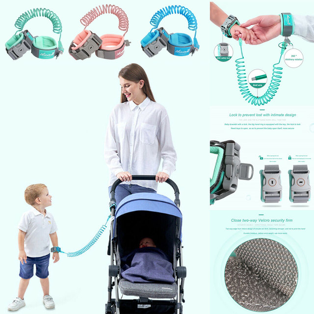 1.5-2.5m Children Leash Anti-lost Wrist Link Traction Rope Kids Safety Harness Adjustable Baby Walker Wristband 2