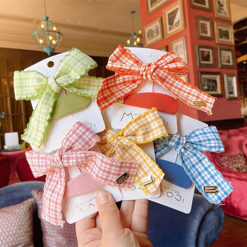 2020 New Korean Sweet Girl Princess Simple Colorful Lattice Fabric Bow Hairpins For Children Fashion BB Clip Hair Accessories