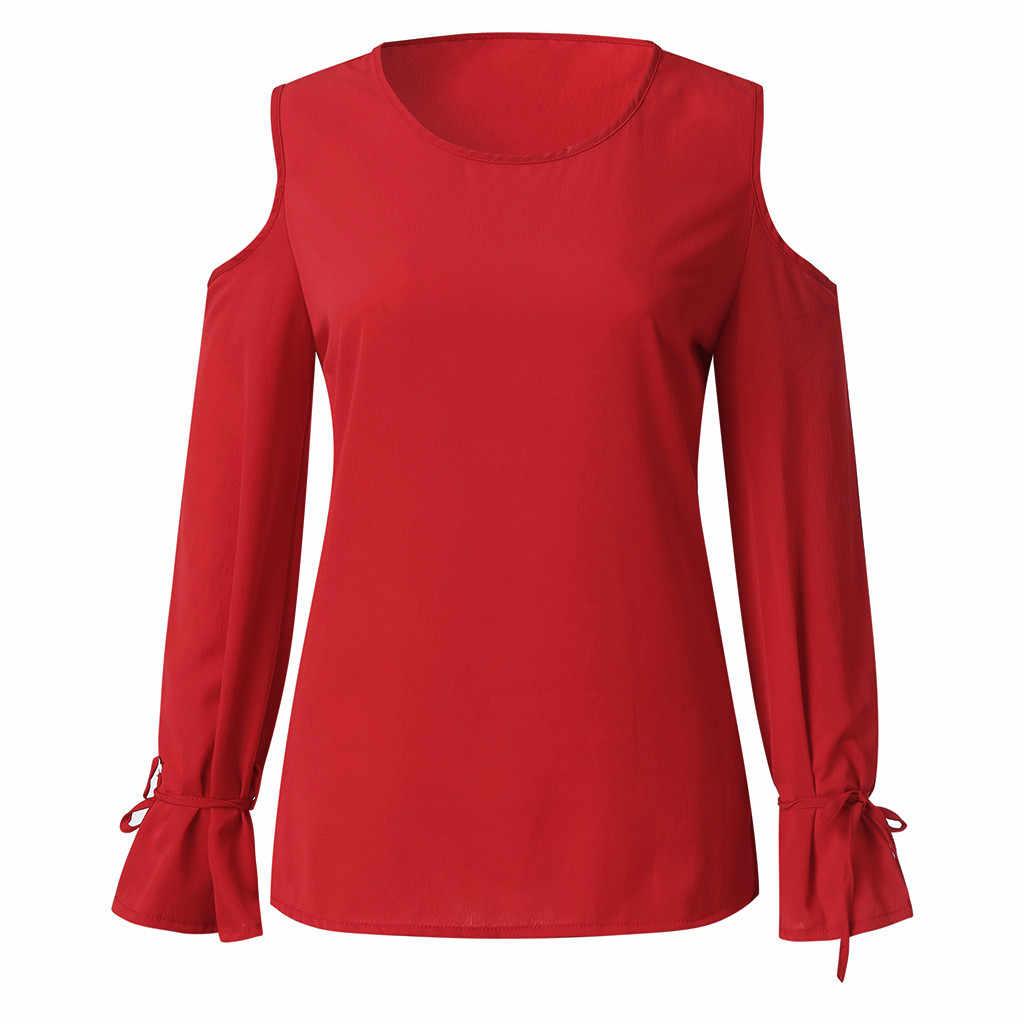 CHAMSGEND בסוודרים ארוך שרוול מוצק כבוי כתף טי Loose ארוך חולצה אישה חולצת טי למעלה טי חולצה Femme Camiseta Mujer חולצת טי