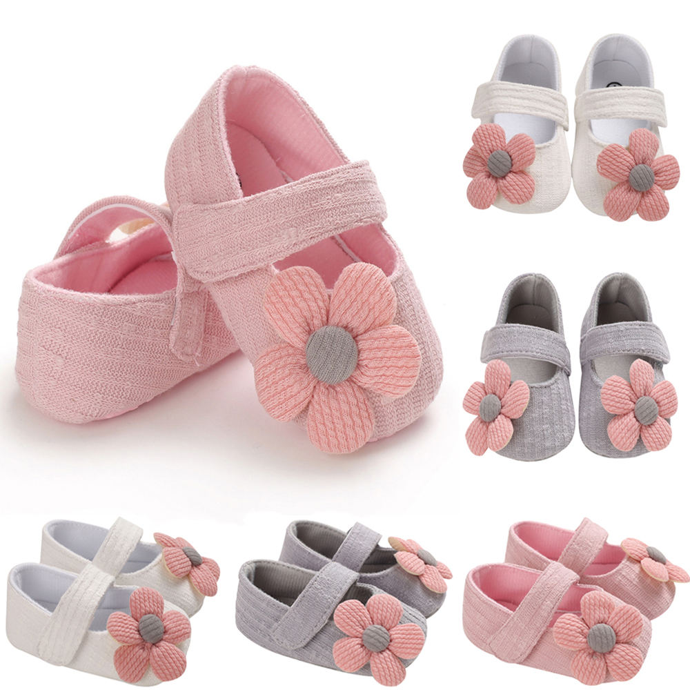 Newborn Baby Girls Crib Pram Shoes Toddler Kids Infant First Walker Prewalkers Non-slip Cotton Flower Party Princess Shoes D30