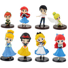 Figurines de princesse Q Posket, blanche-neige, Alice Tinkerbell, Ariel, petite sirène, Peter Pan, Prince, erich, Petit, jouet modèle, 4 pièces
