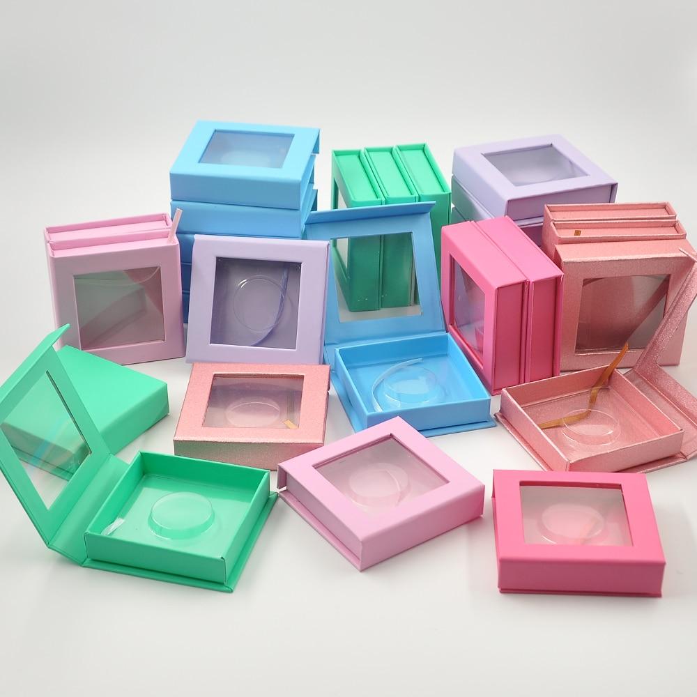 Wholesale False Eyelash Packaging Box Lash Boxes Packaging Custom Logo Faux Cils Mink Eyelashes Magnetic Square Case Bulk Vendor