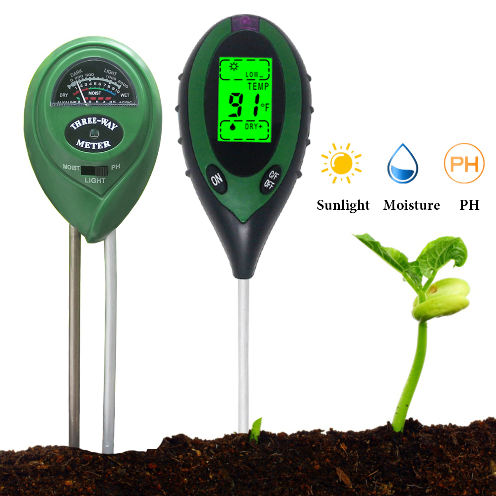 Soil PH Meter 3 In 1 / 4 In 1 Garden Moisture Sunlight Light Tester Detector Hygrometer For Plants Flowers