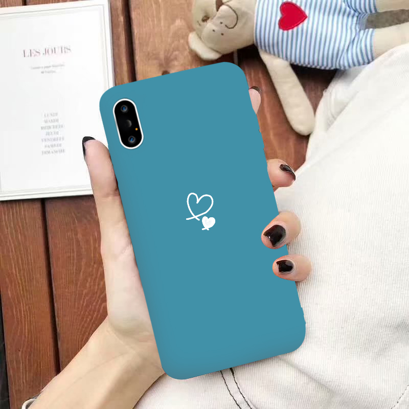 Love Heart Pattern Phone Cases Cover For Iphone 8 Plus 6 6S 7 for iphone XS Max XR X Soft Anti drop Silicone Simple Back Cover in Fitted Cases from Cellphones Telecommunications