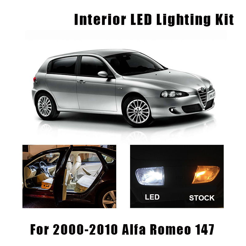 9pcs White Error Free LED Bulbs Interior Map Dome Light Kit Fit For 2000-2007 2008 2009 2010 Alfa Romeo 147 Trunk Glove Box Lamp