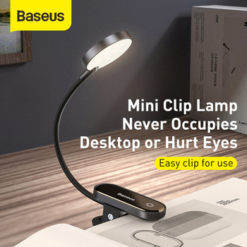 Baseus USB Led Light Rechargeable Mini Clip-On Desk Lamp Flexible Nightlight Warm Reading For Travel Bedroom Book - discount item  30% OFF Household Appliances