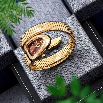MISSFOX Women's Watches Snake Shape Luxury Wrist Watch For Women Steel Unique Gold Quartz Ladies Watch Clock Relogio Feminino 3