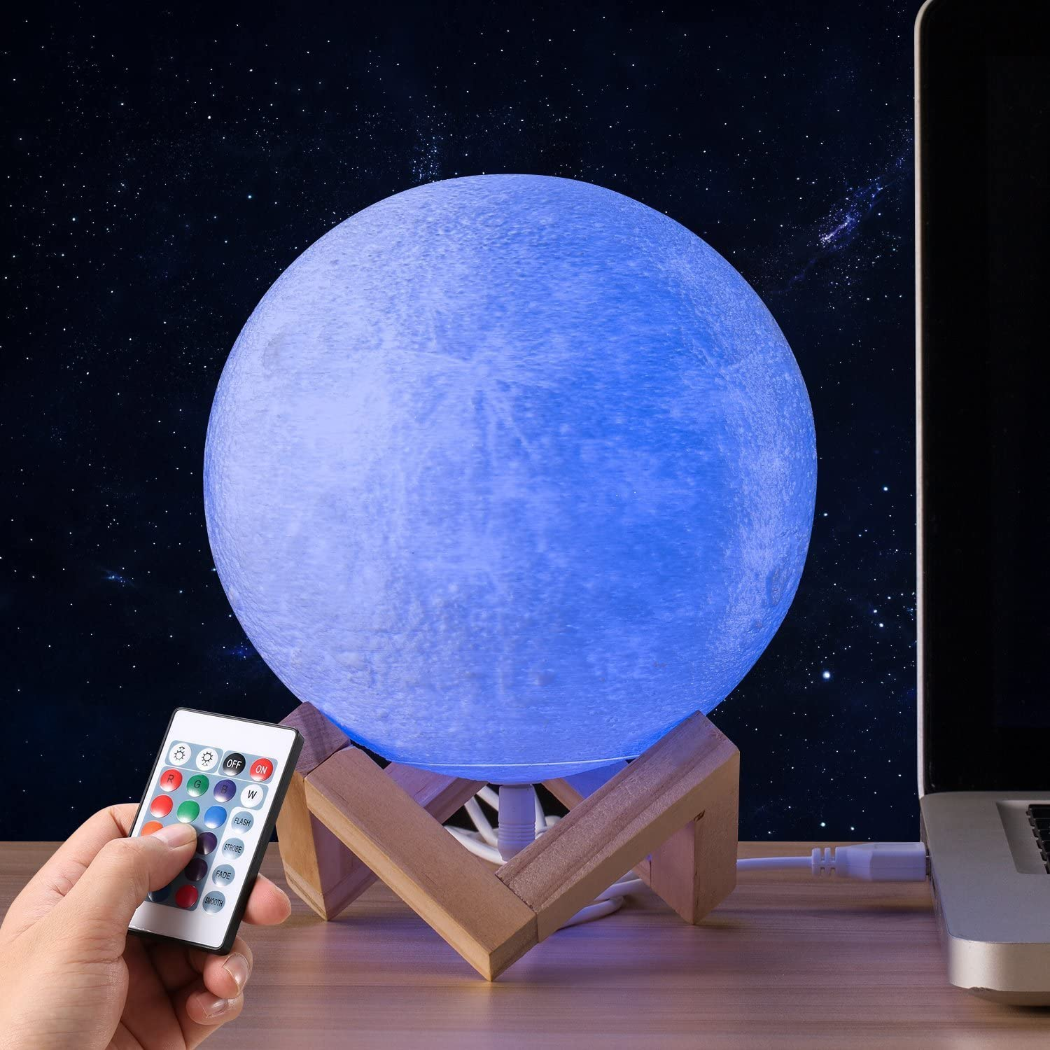 3D Dimmable Moon Lamp 16 Colors Change Remote Touch LED Moon Light 3D Print Night Light For Kids Lover Birthday Christmas Gifts