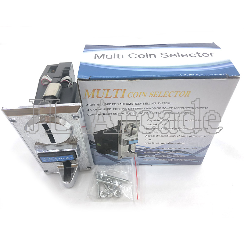 Multi Coin Acceptor Electronic Roll Down Mechanism CPU Programmable 6 Type Coin Selector Washing Machine Factory Price