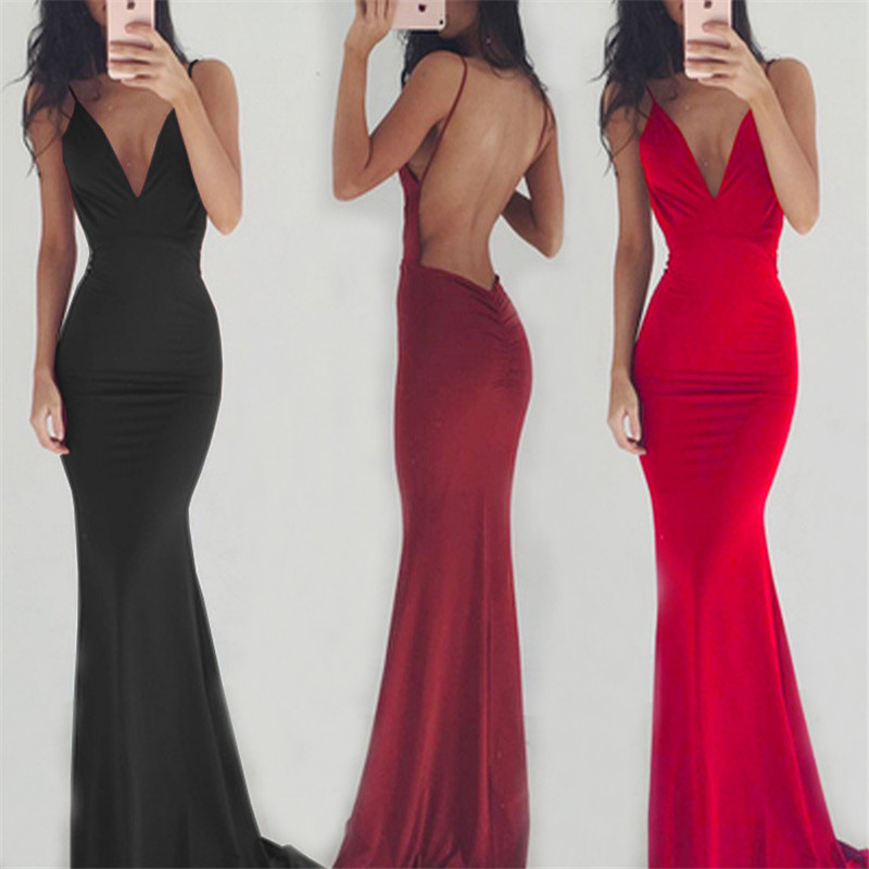 Women Party Long Dress Sheer Spaghetti Straps Sleeveless V-Neck Sexy Backless Elegant Maxi Chic Floor-Length Evening Ball Gown