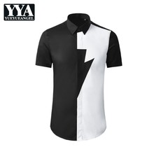 Mixed Color Short-Sleeve Shirt Mens Black White Spliced Lapel Single-Breasted Slim Fit Tops Cotton Summer Business Casual Korean
