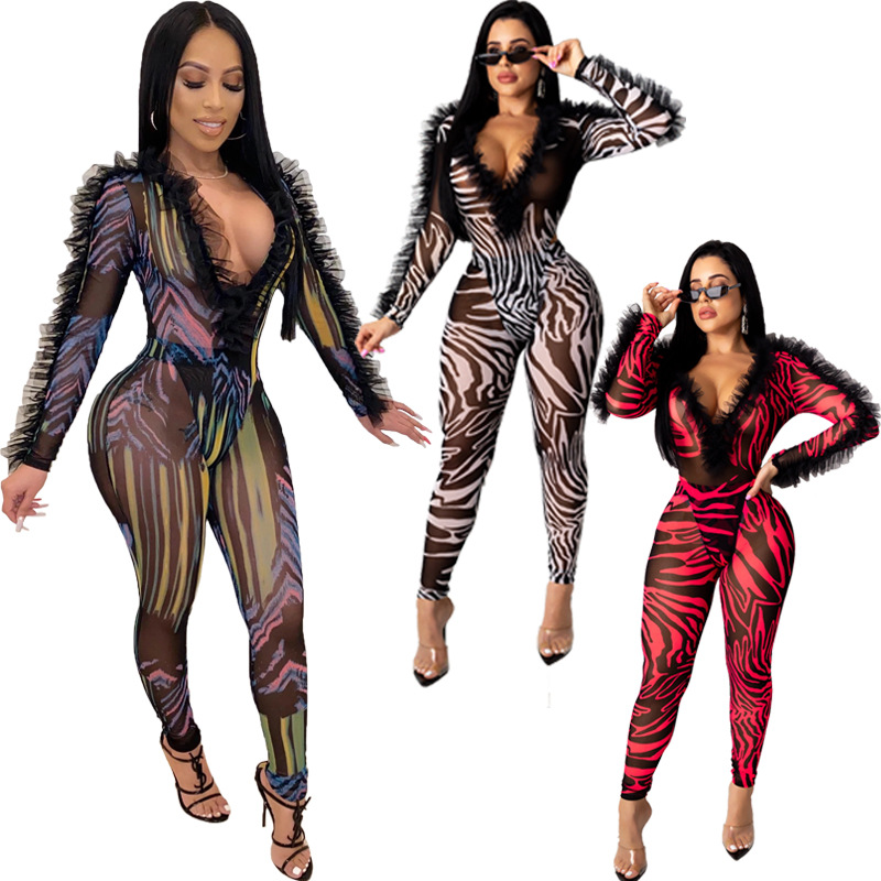 Stripe Print 2020 Spring Winter Women Deep V Neck Jumpsuits Ruffles Streetwear Rompers Sexy Night Club Party One Piece Overalls