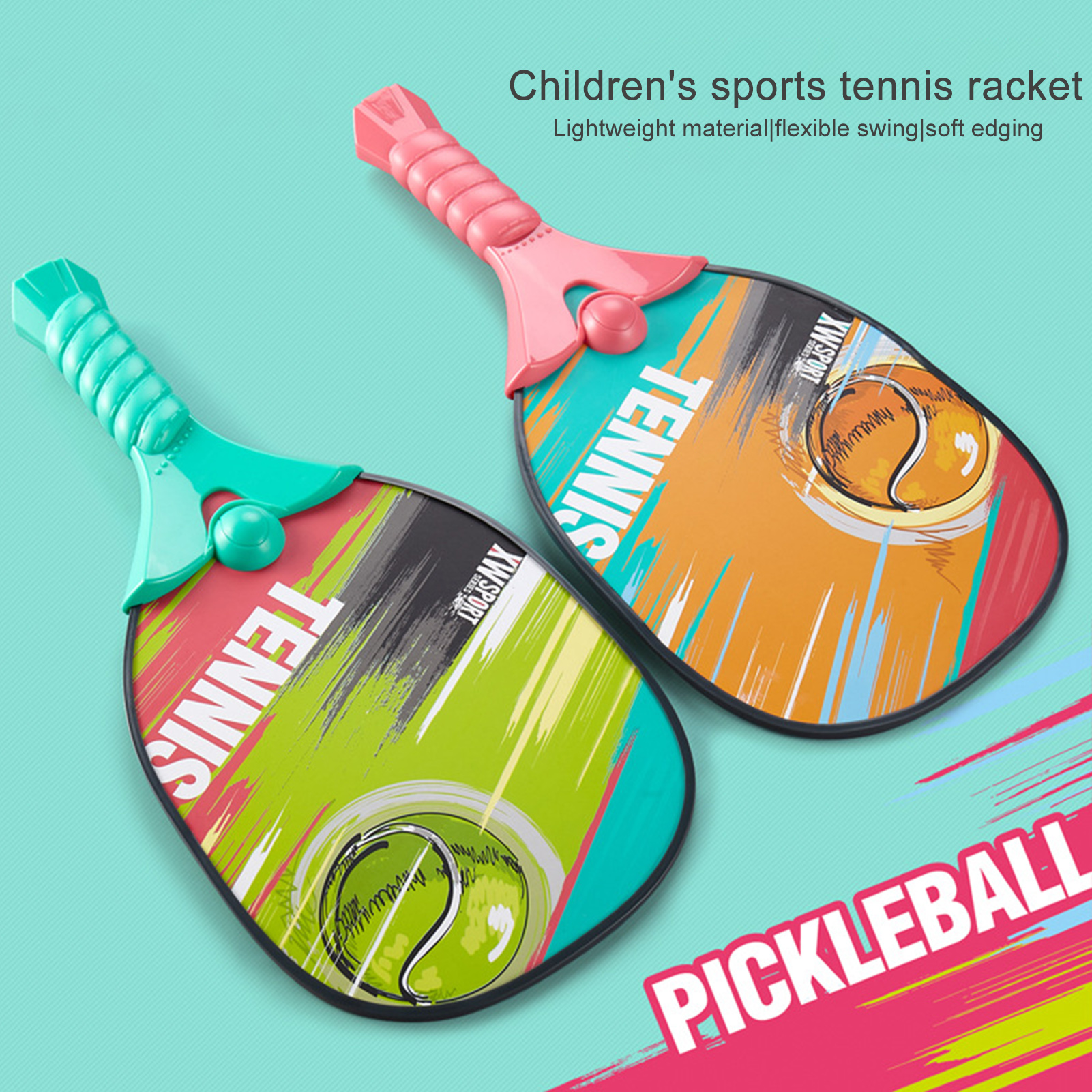 2 Set Beach Tennis Kids Dual Tennis Racket Ball Set Outdoor Sports Mini Badminton Racket For Children Gift