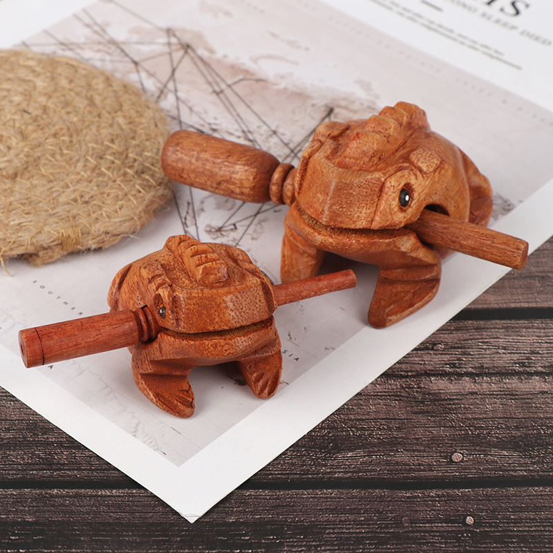 Wooden Lucky Frog Toy Animal Money Frog Clackers Kids Musical Instrument Percussion Toy Gift Children Toys Home Art Decor