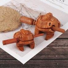 Brinquedo de madeira sorte sapo brinquedo animal dinheiro sapo clackers crianças instrumento musical percussão brinquedo presente crianças brinquedos arte em casa decoração