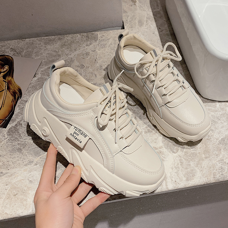 2020 Spring Women Chunky Sneakers Old Dad Shoes Fashion Designer Female Platform Comfortable Trainers Woman Leather Casual Shoes