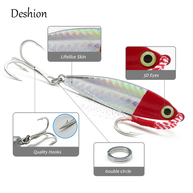 Deshion 1PC Winter Ice Fishing Jigs 7g 10g 15g 20g Shore Casting Micro Jig with Hooks Lead Fish Tackle Sea Metal Fishing Lure