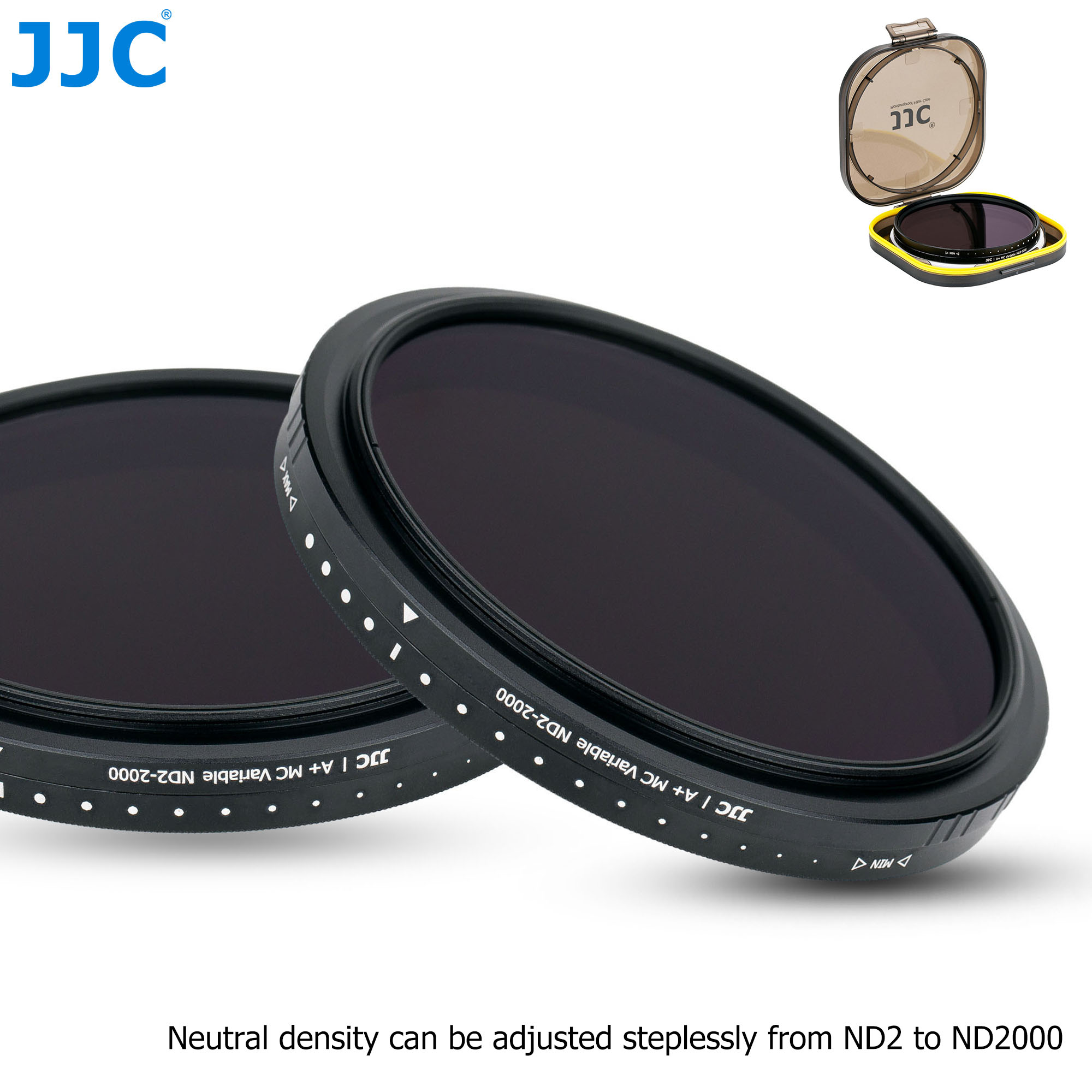 JJC Variable Nd Filter Neutral Density ND2 to ND2000 Lens Filter 49mm 52mm 55mm 58mm 62mm 67mm 72mm 77mm 82mm with Filter Case