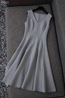 Runway 2020 NEW autumn sexy Vintage Dress Slim Casual V Neck Sleeveless Gray dresses autumn Women winter Party Dress