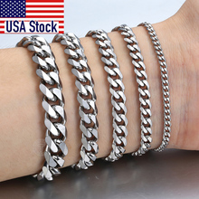 Men's Bracelets Link-Chain Gift Women Jewelry Cuban Curb Stainless-Steel Black Gold Silver-Color