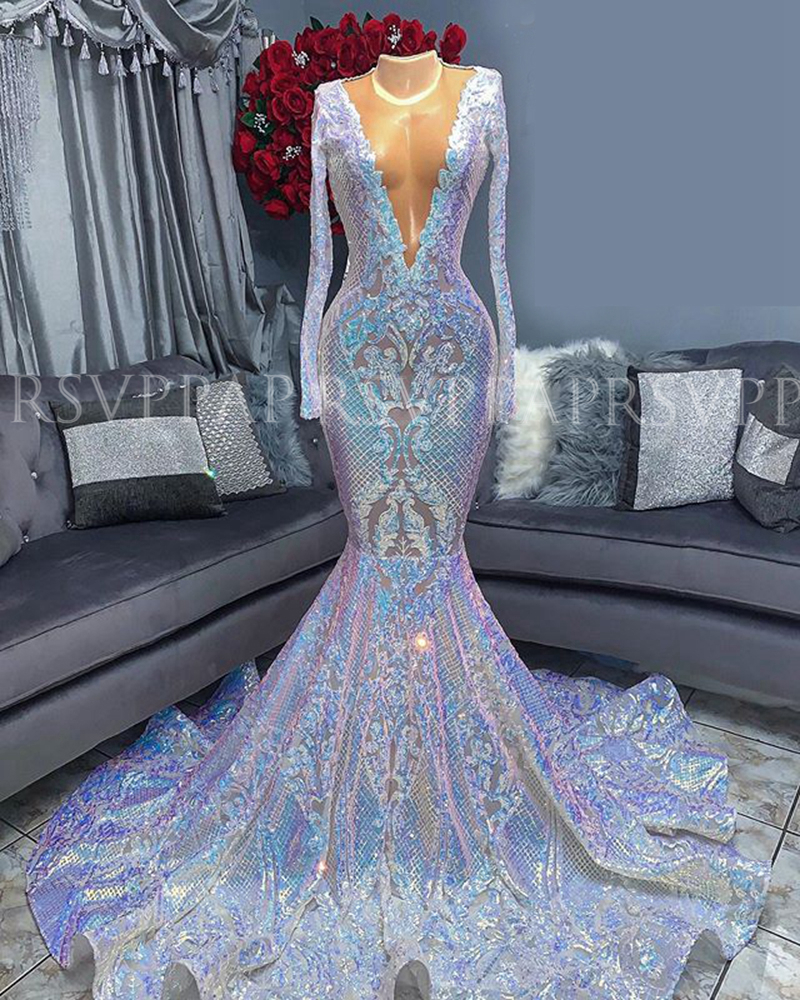 Long Prom Dresses 2020 Sheer O-neck Long Sleeve Sequin African Black Girl Mermaid Gala Prom Party Dress