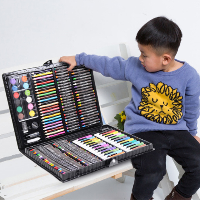 168PCS Painting Drawing Art Artist Set Kit Water Color Pen Crayon Oil Pastel Painting Tool Supplies Kids Stationery Gift Set 1
