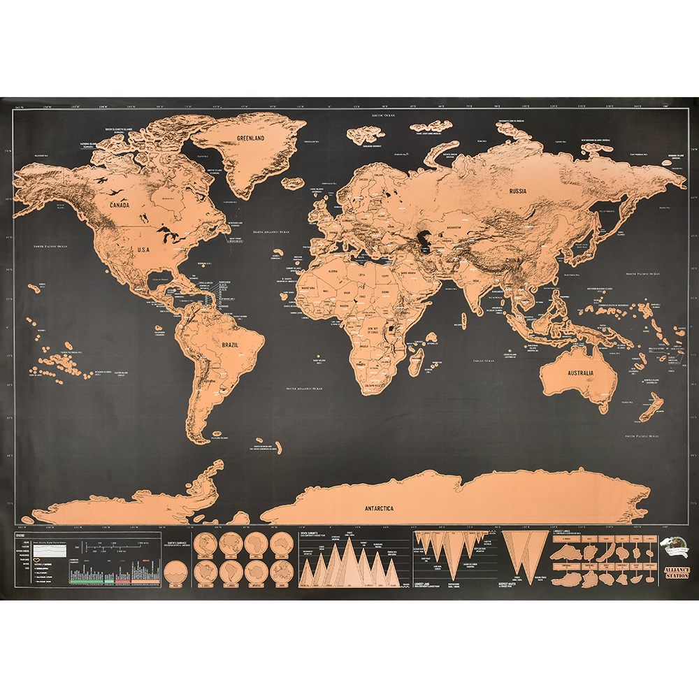 Erase World Travel Map Advanced Personalized Wall Sticker Poster Traveler Essential Suitable For Office Home Wall Decoration
