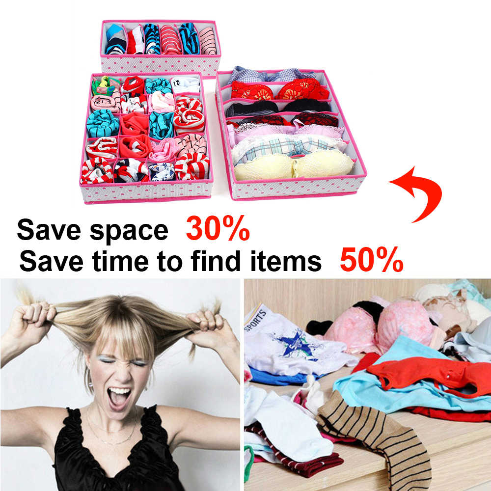 6/7/8/24/30 grid bra underwear meias organizador de armazenamento caixa de tecidos não tecidos dobrável grande capacidade quarto caixa armário guarda-roupa