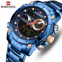 Nowy NAVIFORCE Top luksusowa marka mężczyźni zegarek kwarcowy męski wzór zegara Sport zegarek wodoodporna stal nierdzewna zegarek Reloj Hombre tanie tanio 24cm QUARTZ Podwójny Wyświetlacz 3Bar Składane zapięcie z bezpieczeństwem Stop 15 5mm Hardlex Nie pakiet STAINLESS STEEL