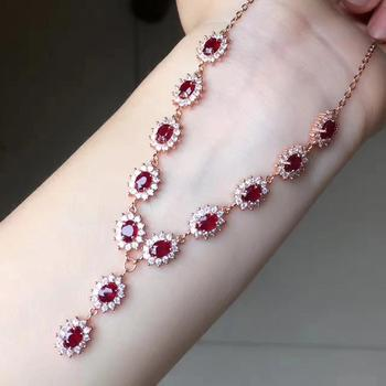 Natural ruby necklace, classic style, 925 Sterling silver, classic fashion, luxury jewelry