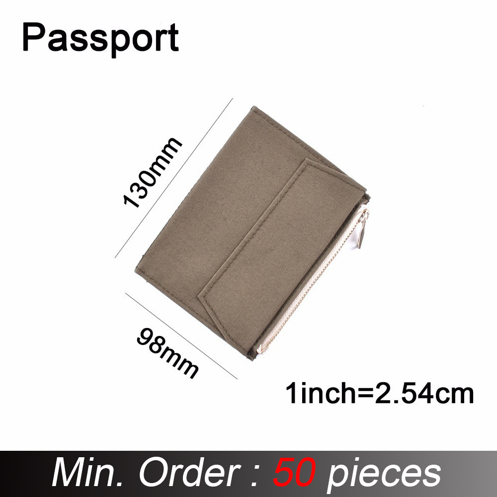 50 Pieces / Lot Passport Size 130 X 98 Mm Canvas Zipper Pocket For Notebook Accessory Olive Green Card Holder Storage Bag