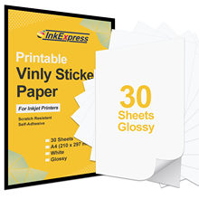 Papel de vinilo de PVC A4 brillante para impresora Epson, Canon, HP, inyección de tinta, autoadhesivo, pegatina de logotipo, patrón artesanal, 30 hojas