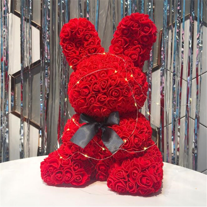 Romantic Valentines Gift Artificial Flowers Everlasting Flowers Rose Rabbit Doll Artificial Roses For Anniversary Birthday Gift image
