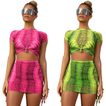 Neon Schlange 2 Stück Set Frauen Festival Kleidung Crop Top Rock Sommer Zwei Pcs Passenden Sets Mesh Sheer Club Outfits trainingsanzug(China)
