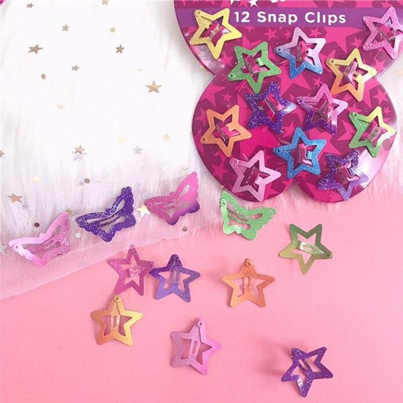 12PCS//Set Cute Glitter Star Butterfly Girls Kids Hair BB Clips Hairpin Barrettes