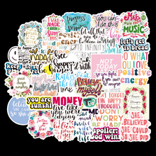 50/100pcs Inspirational English Phrases Stickers For Notebook Scrapbooking Material Craft Supplies Vintage Motivational Stickers