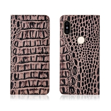 Crocodile pattern genuine leather magnetic phone case card slot holder for Redmi Note 5 Pro/Redmi Note 6 Pro flip case phone bag ostrich pattern genuine leather case card slot holder phone bag for xiaomi redmi note 6 pro redmi note 5 pro flip phone cover